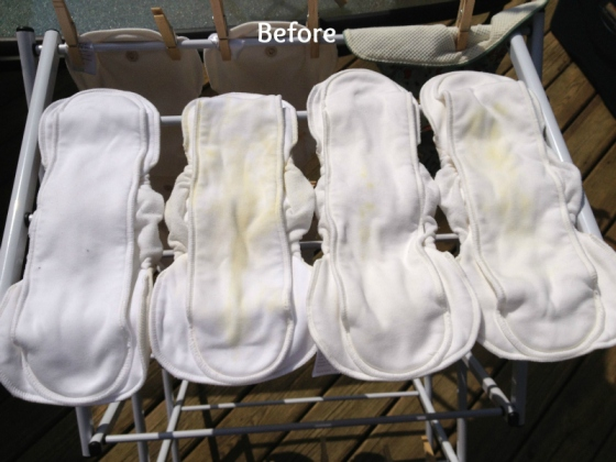 Diapers when I put them outside. I rewet them once, and I don't know what that is on the far left one. It's some kind of dirt that's IN the fabric, but it was there after washing. I am still trying to get that out.